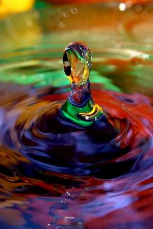 magnified: Optimistic drops of water   Full of color