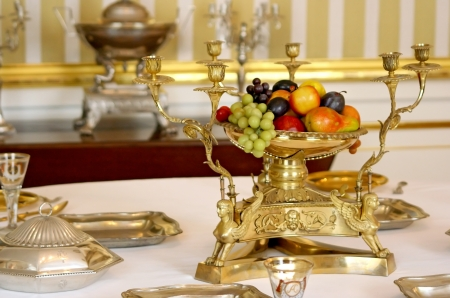 Old luxury table in palace interior  Stockfoto