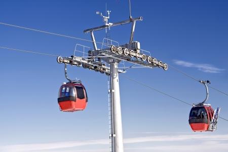 station ski: Ski station in Polish mountain  Red gondola   Editorial