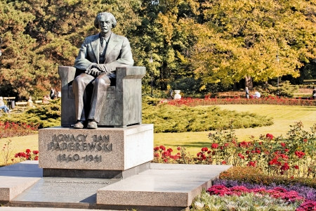 Monument of Ignacy Paderewski - world famous pianist  Autumn time
