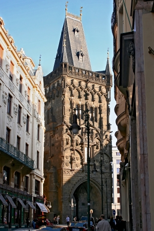 gunpowder: Streets of Prague  Gunpowder tower  Czech republic  Editorial