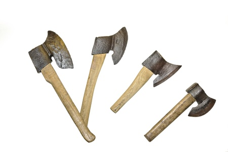 Old steel axes isolated on white  photo