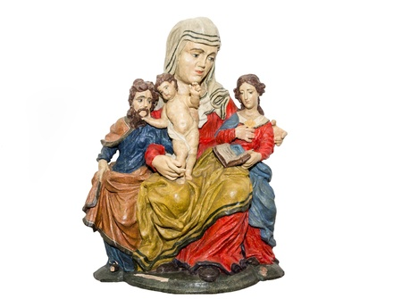 anna: Baroque sculpture  Saint Anna with Holy Family  Stock Photo