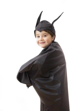Jongen met Carnaval kostuum Little batman Stockfoto