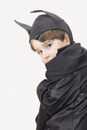 Boy with carnival costume   Little batman  Stock Photo
