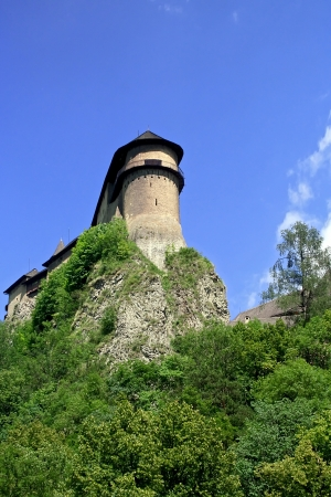 gothic castle: Vista del castillo g�tico Oravski Podzamok.Slovakia.