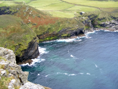 camel post: Coast of Atlantic ocean in Cornwall, England.