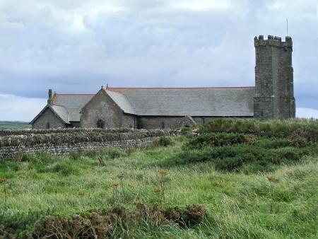 camel post: Old church near Tintagel castle.