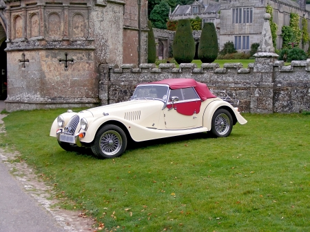 Summer park in Lanhydrock  Rally of old cars  Great Britain