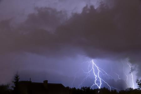 Heavy storm, lighting over the city.