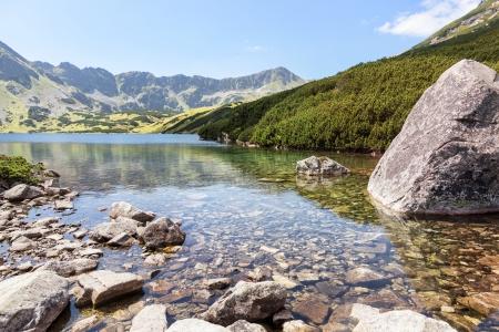 High mountain in Poland  National Park - Tatras  Ecological reserve  Mountain lake  Фото со стока