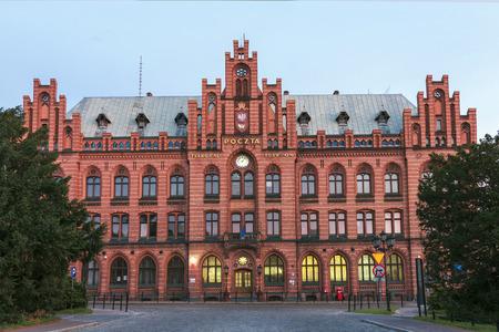 Gezichten van Polen Oude gebouw van het postkantoor in Koszalin