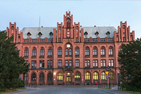 Sights of Poland  Old building of post office in Koszalin  Редакционное