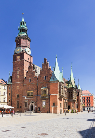 sights: Sights of Poland. Wroclaw Old Town with the Gothic Town Hall. Stock Photo