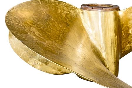 brassy: Large, old, brassy ship propeller.