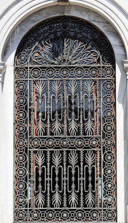 barred: Old barred window in Istanbul. Stock Photo