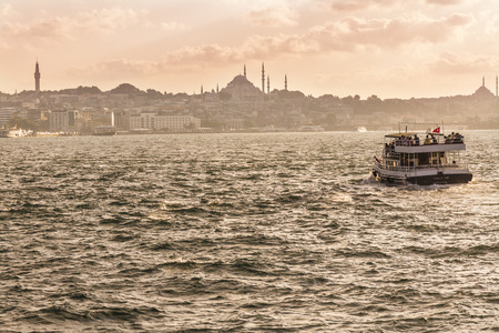 agglomeration: Sights of Istanbul. View of city. Streets, monuments, and Bosfor straits.