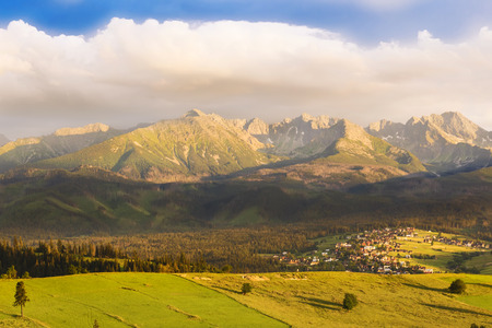 Mountain sunset - Tatras - high mountain in Europe. View from Poland side. North faces.