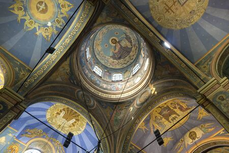 Interior of cathedral dedicated Dormition of the Mother of God - Orthodox church in Varna. City at Black Sea. Bulgaria.
