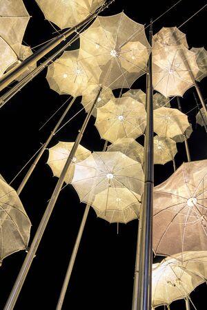 Umbrellas placed in Thessaloniki. In Thessalonikis new seaside.