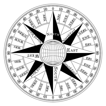 Kompassrose Kompassrose marine Navigation isoliert Hintergrund Vektor eps Standard-Bild - 87608245