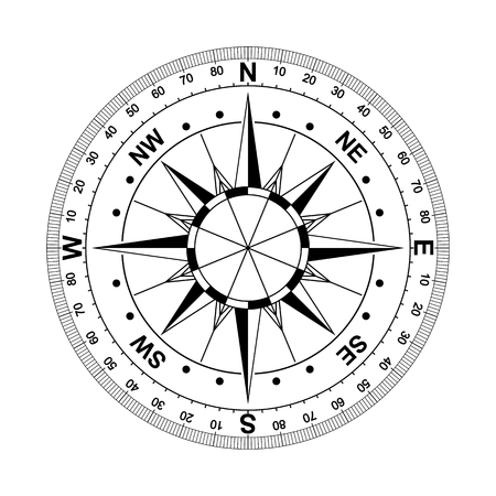 compass rose compass rose marine navigation isolated background vector eps Çizim