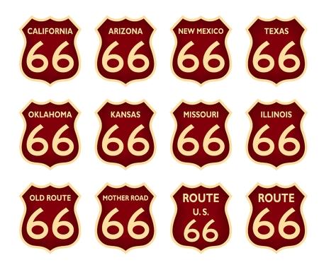 ルート 66 の歴史的なアメリカの状態は白のベクトルの背景