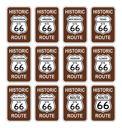 route 66 historic america united states vector white background