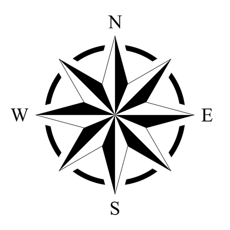 Compass rose compass rose marine perspective navigation isolated background vector Illustration