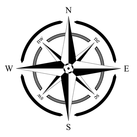 boussole rose navigation marine isolé fond vecteur eps