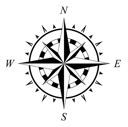 Compass rose marine navigation illustration isolated on white background Vettoriali