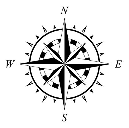 Róża kompasu ilustracja nawigacji morskiej na białym tle Ilustracje wektorowe