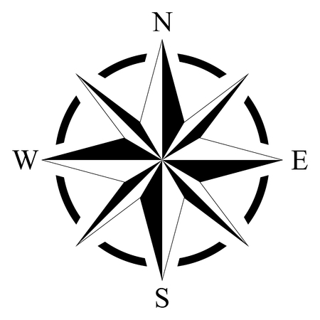 Compass rose for marine or nautical navigation vector illustration