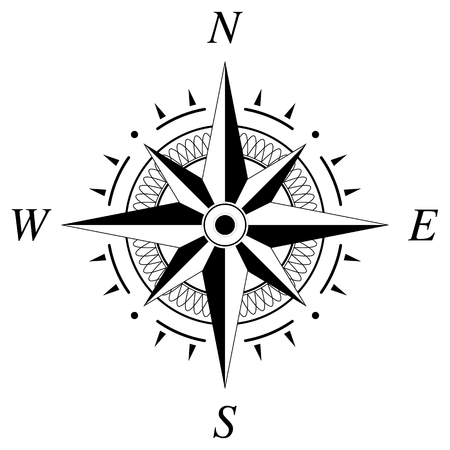 Compass rose for marine or nautical navigation