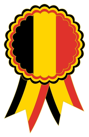Award Ribbon in the national colors Black, Gold and Red of Belgium as well as emblem or banner for presentation ceremony and celebrations on an isolated white background as vector Stock Illustratie
