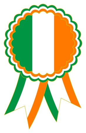 Green, White and Orange of Ireland Award Ribbon in the national colors. Usable as emblem or banner for presentation ceremony and celebration on a white background as vector. Stock Illustratie