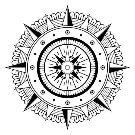Mandala vector with Compass rose on an isolated white background. Vector Illustratie