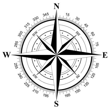 Compass rose vector on an isolated white background. Useable for different navigation situations. Vektoros illusztráció