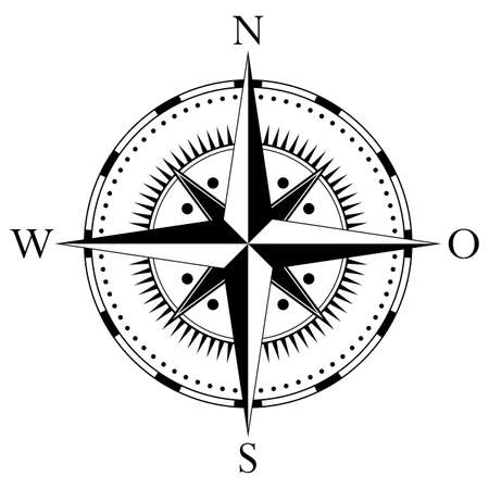 Antik Compass rose vector with german east description on an isolated white background.