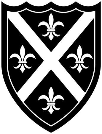 Knight Shield in black and white on white isolated background. Black and white Vector Illustration of a simple Wappon shield. Knight and Viking equipment in Middle Age design.
