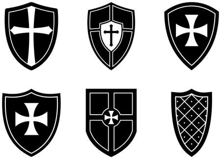 Knight Shield set on white isolated background. Black and White Vector Illustration of simple Wappon shields. Knight and Viking equipment in Middle Age design. Illusztráció