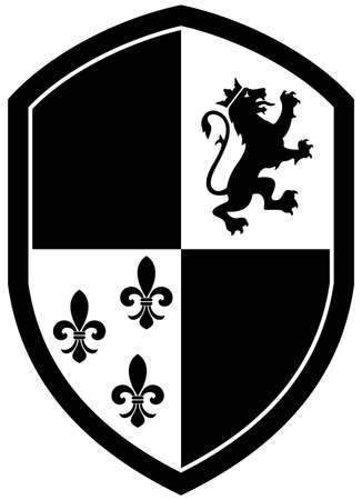 Knight Shield in black and white on white isolated background. Black and whithe Vector Illustration of a simple Wappon shield. Knight and Viking equipment in Middle Age design.