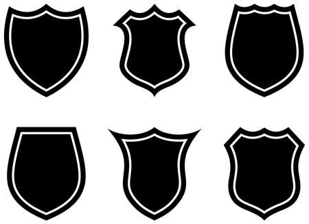 Knight Shield set on white isolated background. Black and White Vector Illustration with simple Wappon shields. Knight and Viking equipment in Middle Age design.