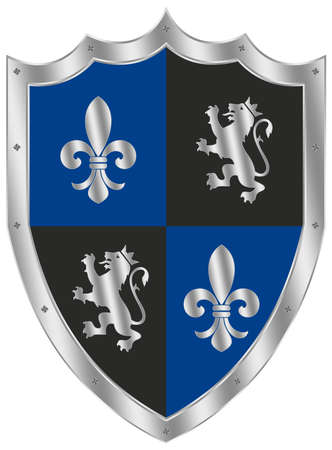 Knight Shield in silver, blue and black on white isolated background. Silver framed Vector Illustration of a simple Weapon shield. Knight and Viking equipment in Middle Age design with lily and lion. Illusztráció