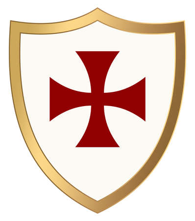 Knight Shield with gold frame and red cross pattee on white isolated background. Vector illustration of a simple Wappon shield. Knight and Viking equipment in Middle Age design.
