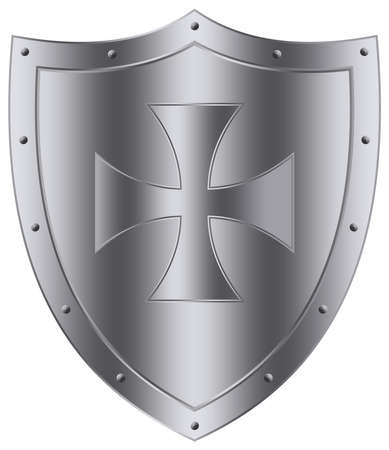 Medieval Knight Shield vector in silver on white isolated background. Silver framed Vector Illustration of a medieval Wappon shield with cross.