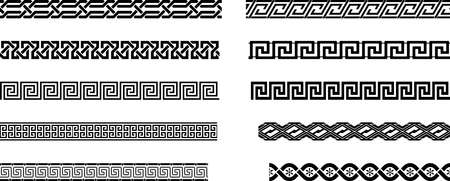 Seamless meander or Maze pattern on a isolated white background. Simple antique Labyrinth pattern perfect for backgrounds, illustrations, fashion, photo frames or letter border.