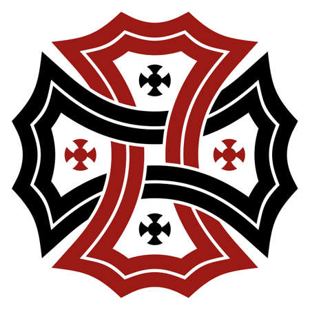 Celtic cross in black and red on isolated white background. Abstract illustration of an celtic symbol.