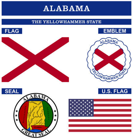 Alabama Symbol collection with flag, seal, US flag and emblem as vector. The Yellowhammer State. The Heart of Dixie. The Cotton State.
