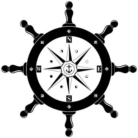 Nautical Steering wheel symbol with compass rose, anchor and Moon phases in black as vector on isolated white background. Useable for backgrounds, wallpaper or nautical and navigation symbols.